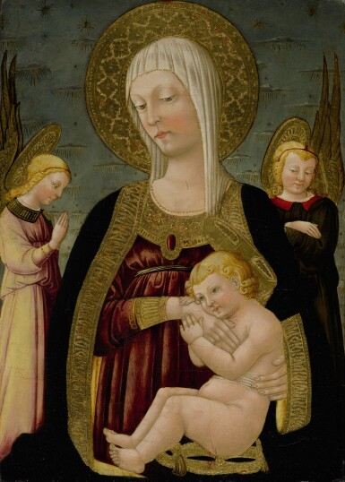 NERI DI BICCI   MADONNA AND CHILD SURROUNDED BY ANGELS