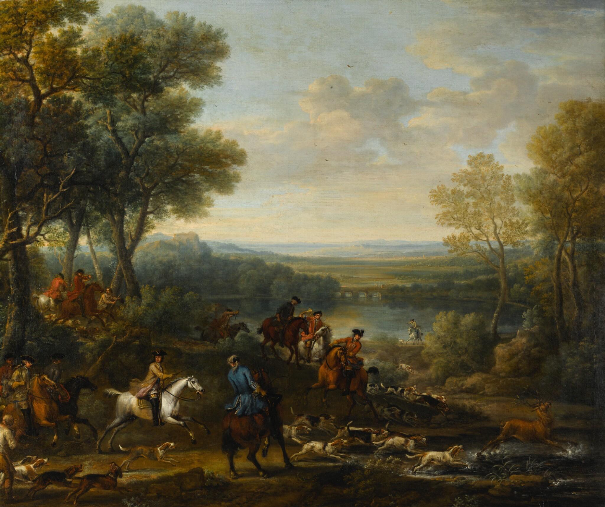 View full screen - View 1 of Lot 28. JOHN WOOTTON | King William III stag hunting | 約翰・伍頓 | 《英王威廉三世狩獵雄鹿》.