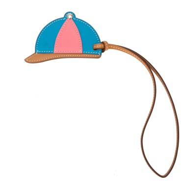 "Hermès Paddock ""Bombe"" Helmet Leather Bag Charm of Bleu Zanzibar, Rose Azalee and Sable Swift and Butler Leather PM"