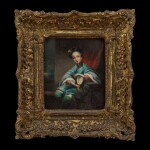 Lamqua (fl. 1820-1860) Portrait of a Chinese Woman with a Fan   林呱(活躍於1820-1860年)執扇仕女圖 布本油畫 木框
