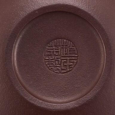 A YIXING 'PEACH' TEAPOT AND COVER SIGNED ZHAO YAWAN   宜興紫泥瑞桃茶壺  《趙亞莞製》款