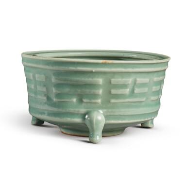 View 3. Thumbnail of Lot 115. A 'Longquan' celadon-glazed 'trigram' censer, Southern Song / Yuan dynasty   南宋 / 元 龍泉窰青釉八卦紋奩式爐.