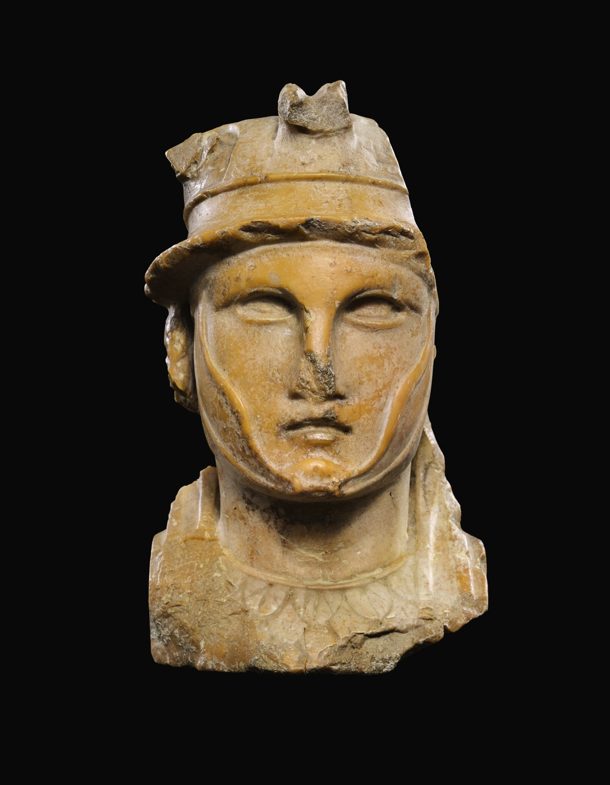 View full screen - View 1 of Lot 29. A ROMAN GIALLO ANTICO HERM BUST OF A HELLENISTIC RULER, CIRCA 1ST CENTURY A.D..