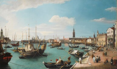 View 1. Thumbnail of Lot 205. Venice, a view of the Bacino di San Marco from the Riva degli Schiavoni, looking West.