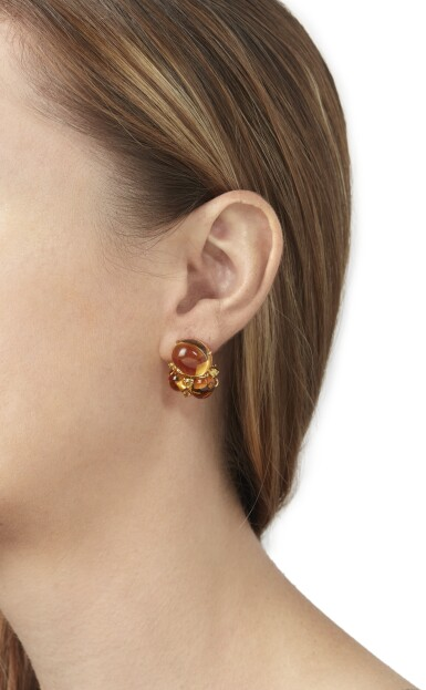 View 4. Thumbnail of Lot 114. PAIR OF CITRINE AND YELLOW SAPPHIRE EARCLIPS, SEAMAN SCHEPPS.