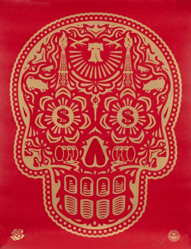 View 1. Thumbnail of Lot 553. SHEPARD FAIREY (OBEY GIANT) | POWER & GLORY DAY OF THE DEAD SKULL (RED).