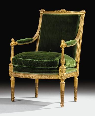 View 1. Thumbnail of Lot 18. A CARVED GILTWOOD ARMCHAIR WITH SPHINXES, LOUIS XVI, BY MATHIEU DE BAUVE, CIRCA 1785 | FAUTEUIL AUX SPHINGES EN BOIS SCULPTÉ ET DORÉ D'ÉPOQUE LOUIS XVI, VERS 1785, PAR MATHIEU DE BAUVE.