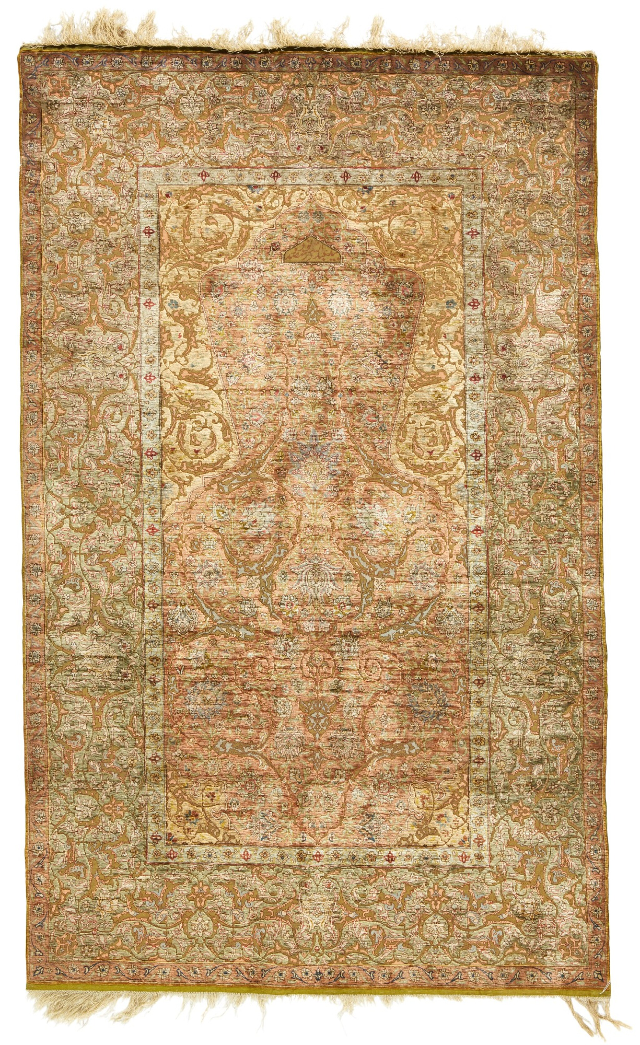 View full screen - View 1 of Lot 139. A Kum Kapi silk niche rug with silk and metal thread brocading, Istanbul, Turkey, attributed to Zareh Penyamin, circa 1900.