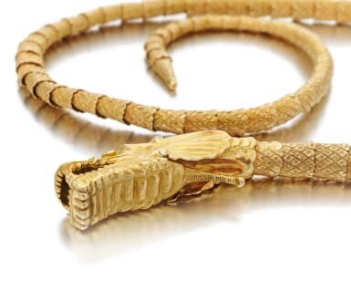 View 5. Thumbnail of Lot 64. Diamond necklace/belt (Collana/cintura con smeraldi e diamanti).