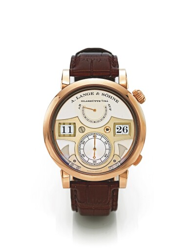 A. LANGE & SÖHNE   LANGE ZEITWERK STRIKING TIME, A PINK GOLD JUMP HOUR AND MINUTE WRISTWATCH WITH STRIKING TIME AND POWER RESERVE INDICATION CIRCA 2010