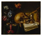 A still life with a skull, a music book, a snuffed-out candle, a bouquet of dying flowers and other vanitas objects on a table