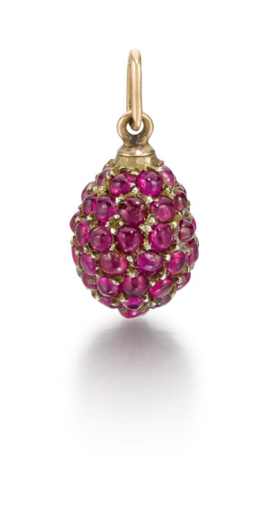 A gem-set gold egg pendant, late 19th / early 20th century