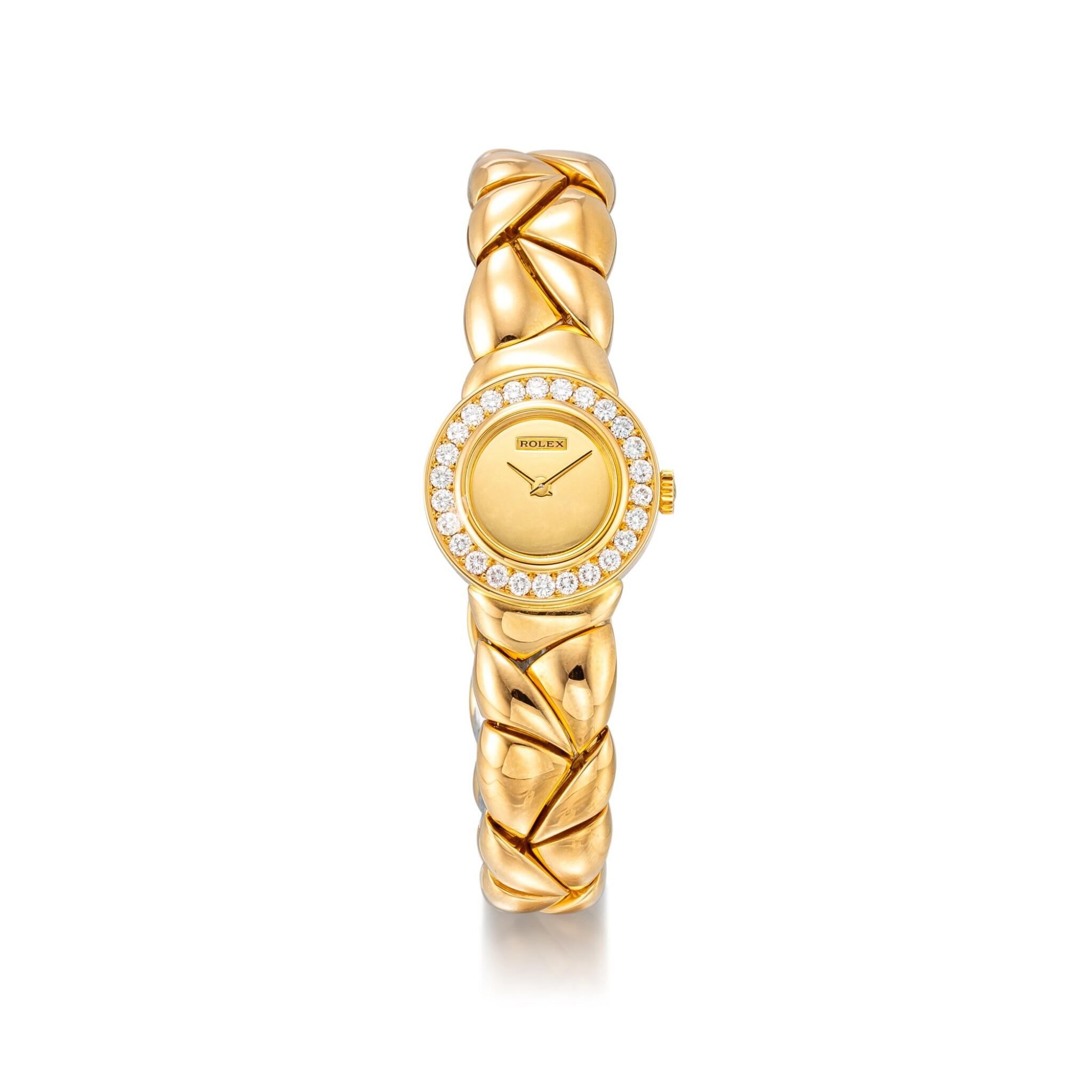 View full screen - View 1 of Lot 8164. ROLEX | REFERENCE 2732 | A YELLOW GOLD AND DIAMOND-SET BRACELET WATCH, CIRCA 1990 |  勞力士 |  型號2732 黃金鑲鑽石鏈帶腕錶,約1990年製.