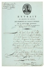 ROBESPIERRE   document signed, also signed by two other members of the Committee for Public Safety, 1794