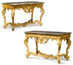 A PAIR OF RÉGENCE CARVED GILTWOOD CONSOLE TABLES CIRCA 1720-25