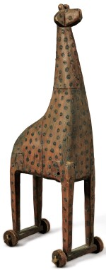 VERY RARE CARVED AND PAINT-DECORATED GIRAFFE PULL-TOY, PROBABLY PENNSYLVANIA, CIRCA 1850-80