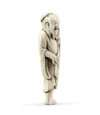 View 4. Thumbnail of Lot 80. An ivory netsuke study of Chokwaro Sennin, Japan, Edo period, 18th century.