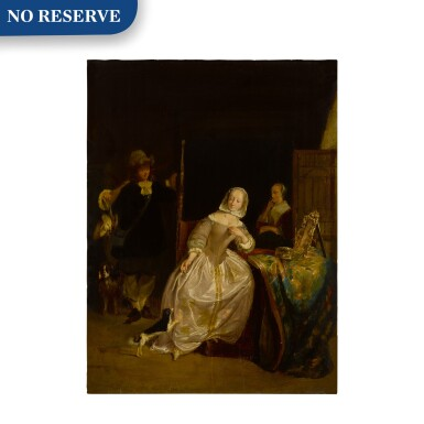 View 1. Thumbnail of Lot 20. A man returning from a hunt, greeted by a lady in an interior.