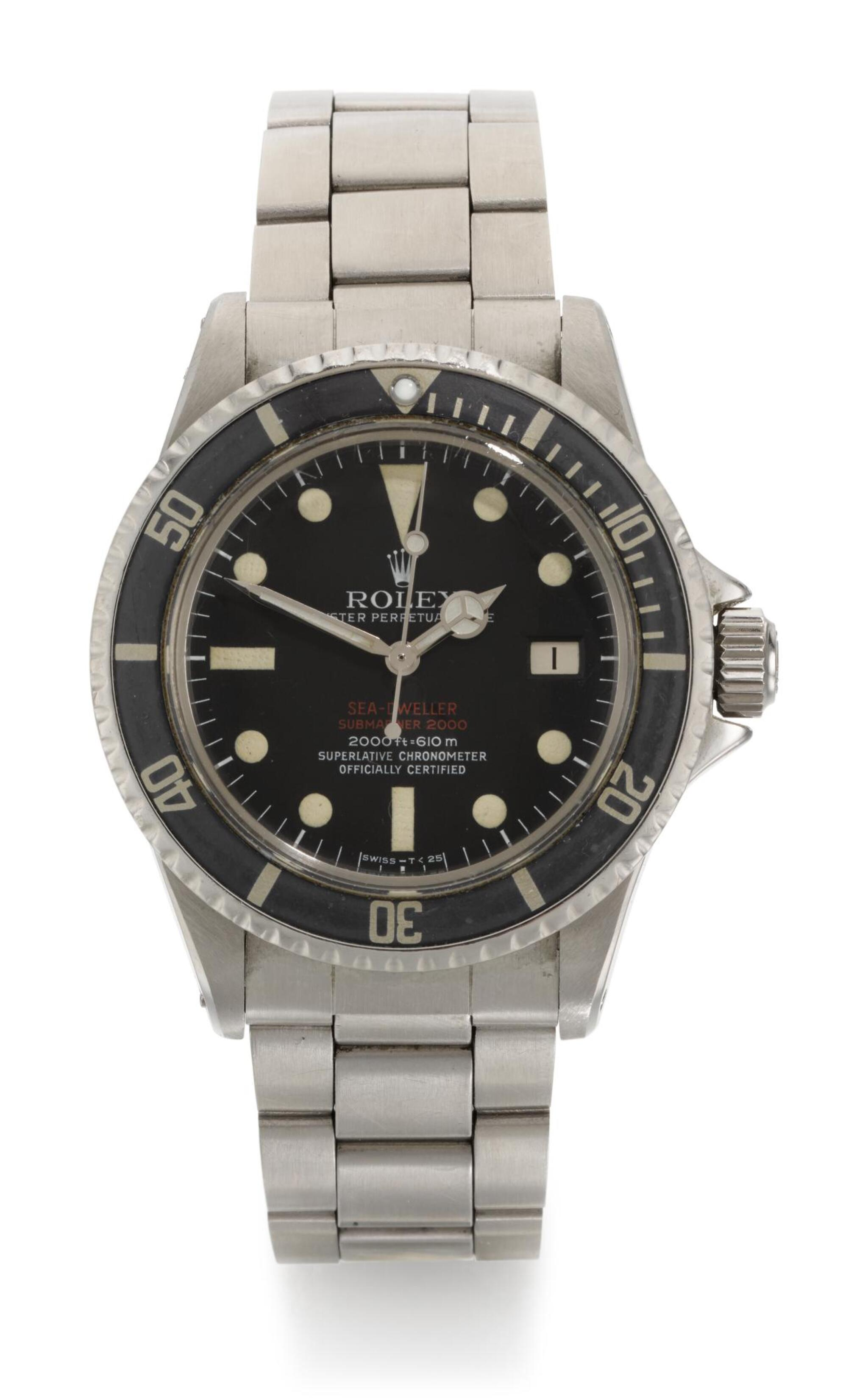 View full screen - View 1 of Lot 7. ROLEX | SEA-DWELLER DOUBLE RED, REFERENCE 1665, STAINLESS STEEL WRISTWATCH WITH HELIUM ESCAPE VALVE, DATE AND BRACELET, CIRCA 1967.