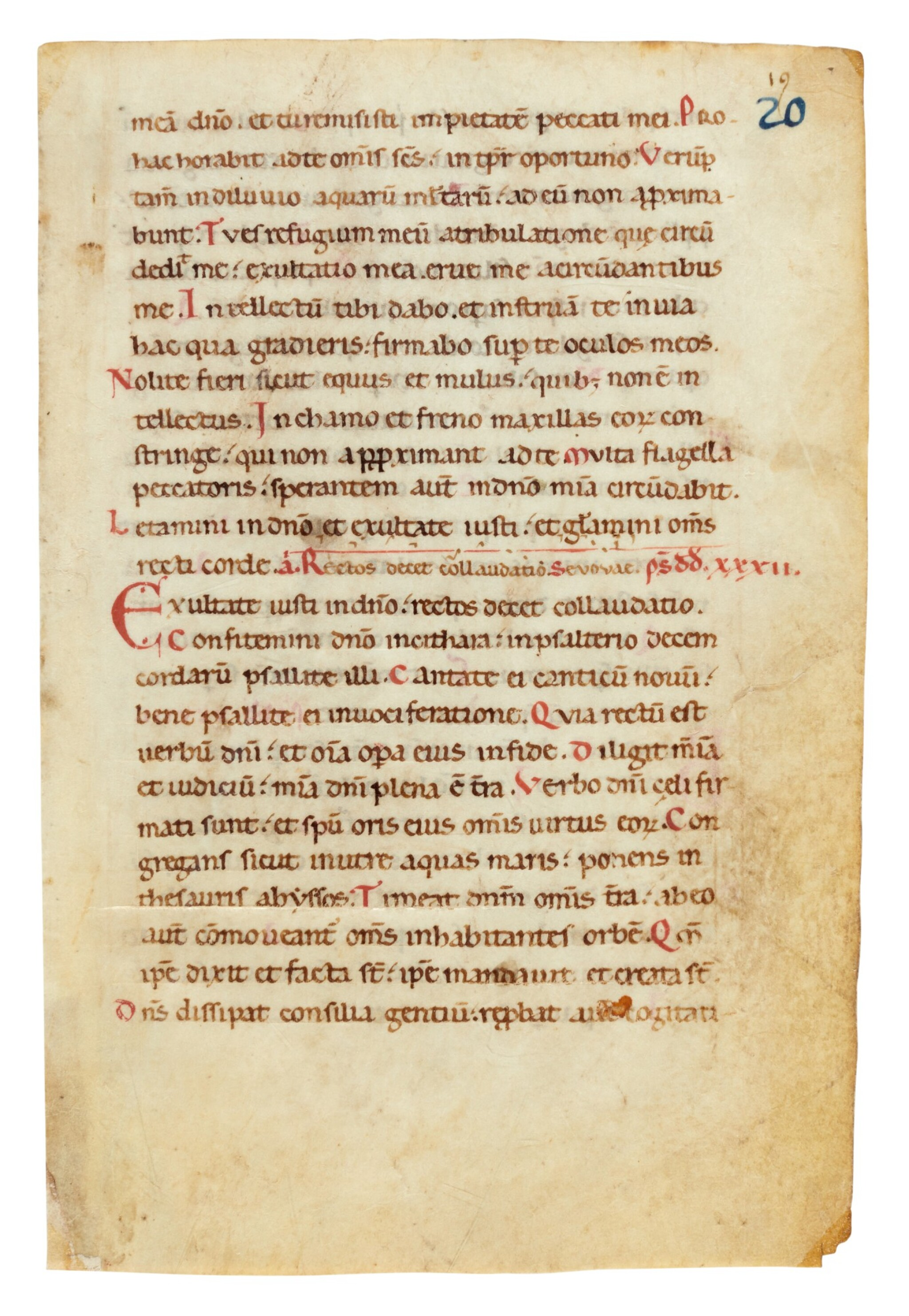 View full screen - View 1 of Lot 3. Leaf from a noted Ferial Psalter and Hymnal, manuscript on vellum [Italy, 12th century].