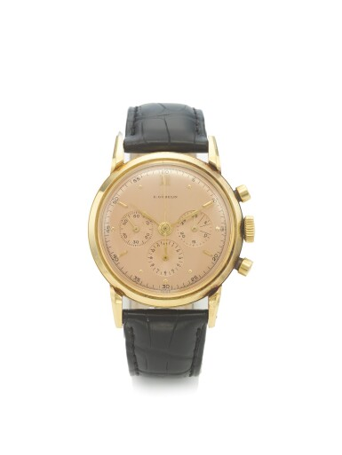 GÜBELIN | A YELLOW GOLD CHRONOGRAPH WRISTWATCH WITH REGISTERS CIRCA 1975