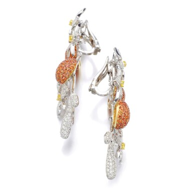 View 2. Thumbnail of Lot 17. MICHELE DELLA VALLE | PAIR OF SAPPHIRE AND DIAMOND PENDENT EARRINGS.