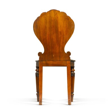 View 5. Thumbnail of Lot 71. A set of six George IV carved mahogany hall chairs, circa 1822, in the manner of Gillows.