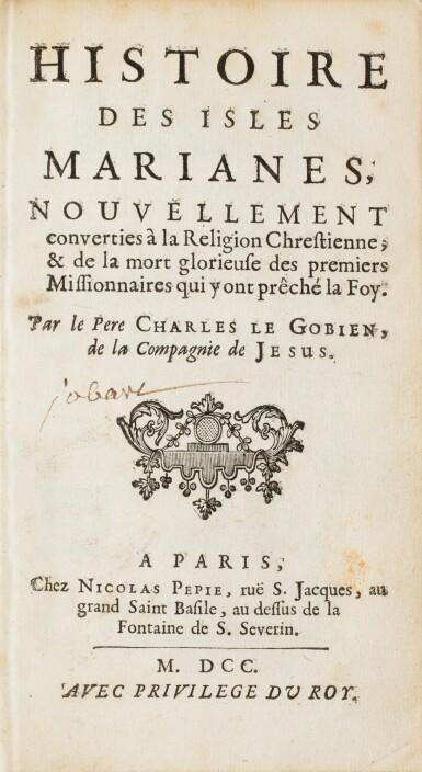 View 3. Thumbnail of Lot 9. LE GOBIEN (père). Histoire des isles Mariannes... 1700. In-12, maroquin rouge aux armes de Philippe de France..