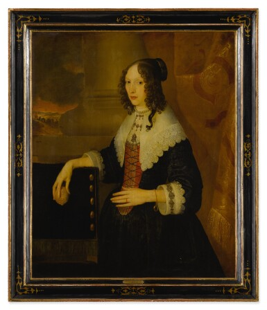 View 3. Thumbnail of Lot 517. Portrait of a lady, said to be Susanna Styles, three-quarter length, holding a lemon with a landscape beyond.