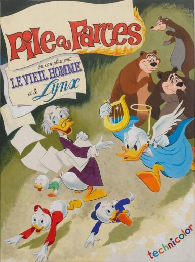 DONALD'S HAPPY BIRTHDAY / PILE OU FARCES (1949) ORIGINAL ARTWORK, FRENCH