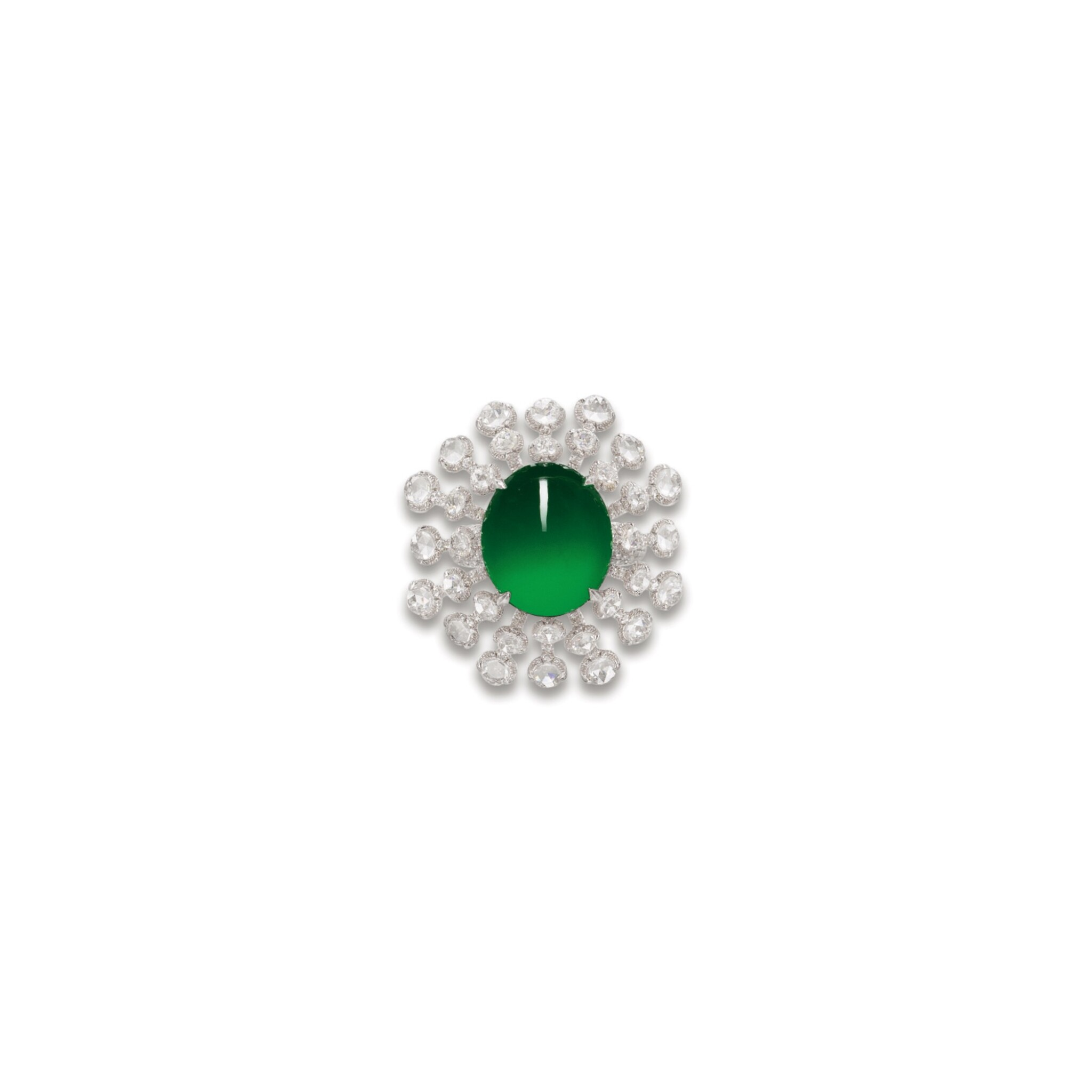 View full screen - View 1 of Lot 1764. JADEITE AND DIAMOND RING  天然翡翠 配 鑽石 戒指.