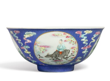 View 4. Thumbnail of Lot 553.  A BLUE-GROUND FAMILLE-ROSE SGRAFFIATO 'MEDALLION' BOWL,  DAOGUANG SEAL MARK AND PERIOD.