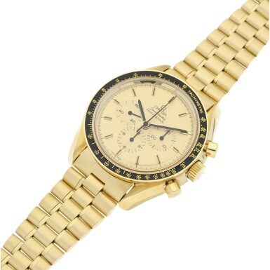 View 6. Thumbnail of Lot 77. REFERENCE 145.022-69 SPEEDMASTER APOLLO XI 1969 A LIMITED EDITION YELLOW GOLD CHRONOGRAPH WRISTWATCH WITH BRACELET, A SELECTION OF WHICH WERE GIFTED TO ASTRONAUTS AND PERSONALITIES, CIRCA 1969.