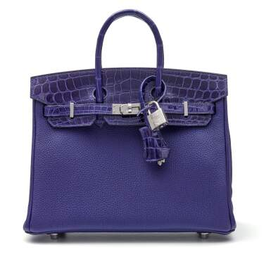 View 1. Thumbnail of Lot 341. Bleu Encre Touch Birkin 25cm in Togo Leather and Shiny Niloticus Crocodile with Palladium Hardware, 2018.