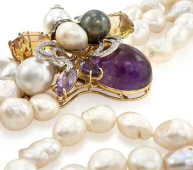 CULTURED PEARL, DIAMOND AND GEMS-SET NECKLACE (COLLANA IN PERLE COLTIVATE, DIAMANTI E GEMME COLORATE)