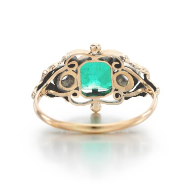 View 3. Thumbnail of Lot 328. EMERALD AND DIAMOND RING.