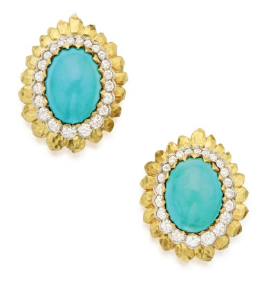 View 1. Thumbnail of Lot 304. PAIR OF GOLD, TURQUOISE AND DIAMOND EARCLIPS, DAVID WEBB .
