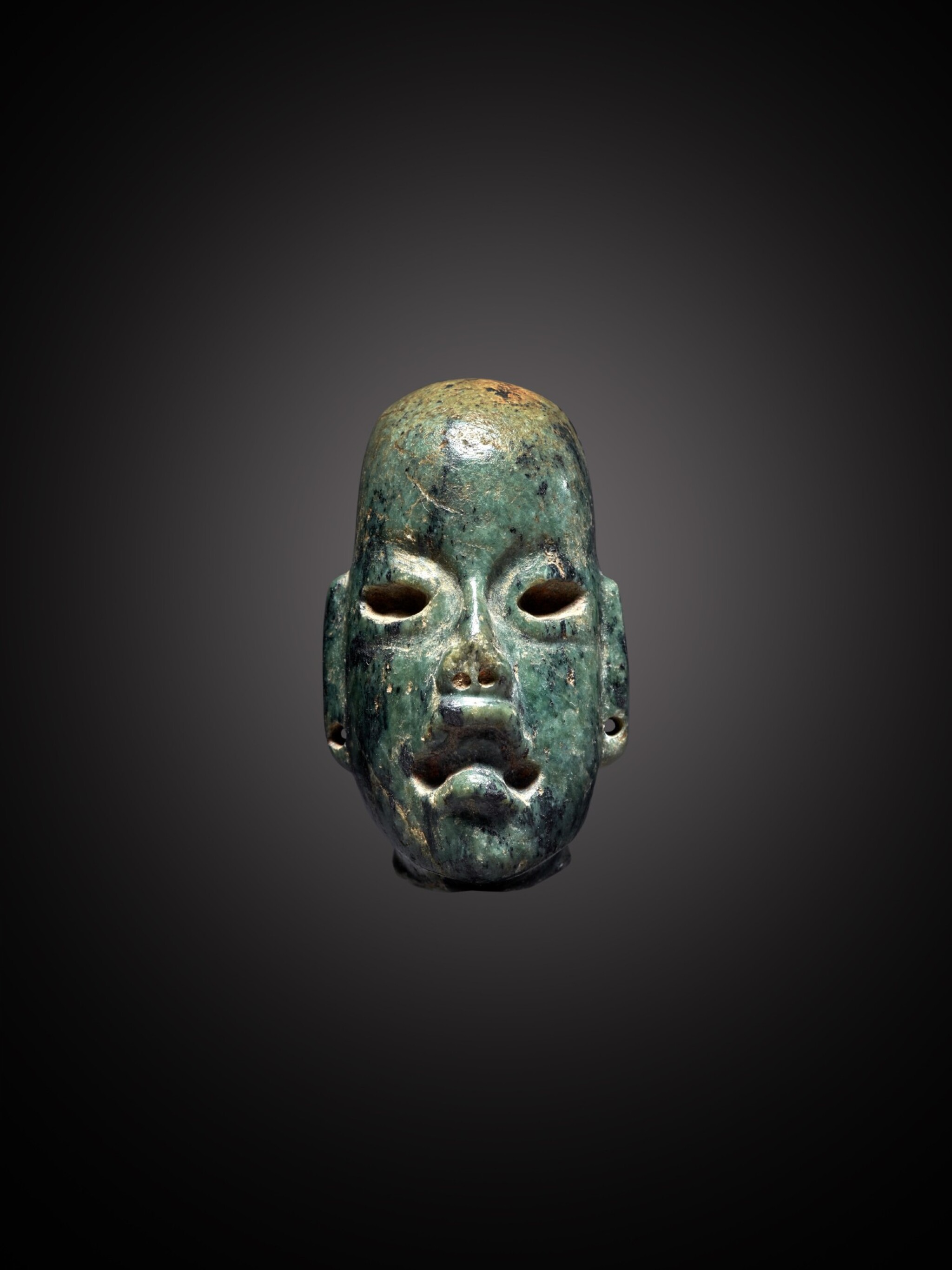 View full screen - View 1 of Lot 103. Olmec Serpentine Head Middle Preclassic, circa 900 - 300 BC.