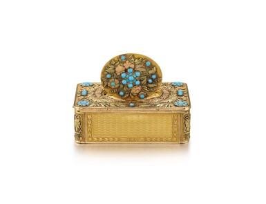 "View 4. Thumbnail of Lot 2092. LES FRÈRES ROCHAT   NO 181, A VARI-COLOUR GOLD AND TURQUOISE SINGING BIRD BOX WITH QUARTER REPEATING WATCH, CIRCA 1820   ""NO181 多色黃金鑲綠松石鳥鳴盒子,備大三針及二問鐘錶,約1820年製""."