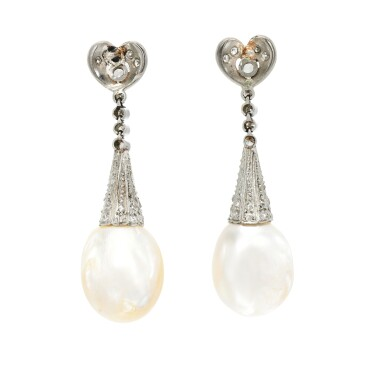 View 3. Thumbnail of Lot 53. Pair of natural pearl and diamond earrings, early 20th century composite.