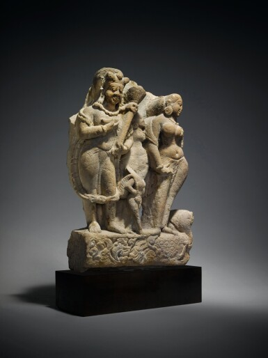 View 3. Thumbnail of Lot 360. A Sandstone Group of Shiva as Bhairava with River Goddess Ganga, Central India, 8th/9th Century.