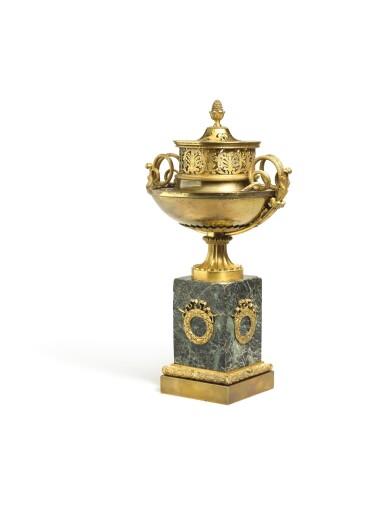 View 2. Thumbnail of Lot 188. An Empire gilt-bronze brûle-parfum, early 19th century.