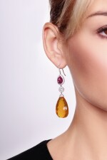 Pair of ruby, opal and diamond pendent earrings