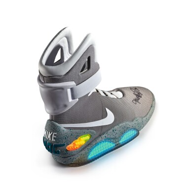 View 4. Thumbnail of Lot 1. Nike MAG 'Back to the Future' | 2011 | Dual Signed by Michael J. Fox.
