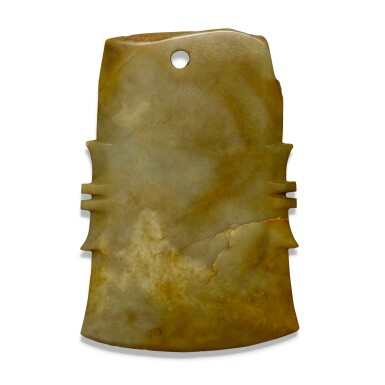 View 1. Thumbnail of Lot 106.  A SMALL JADE NOTCHED AXE, FU, SHANG DYNASTY/WESTERN ZHOU DYNASTY | 商/西周 玉斧.