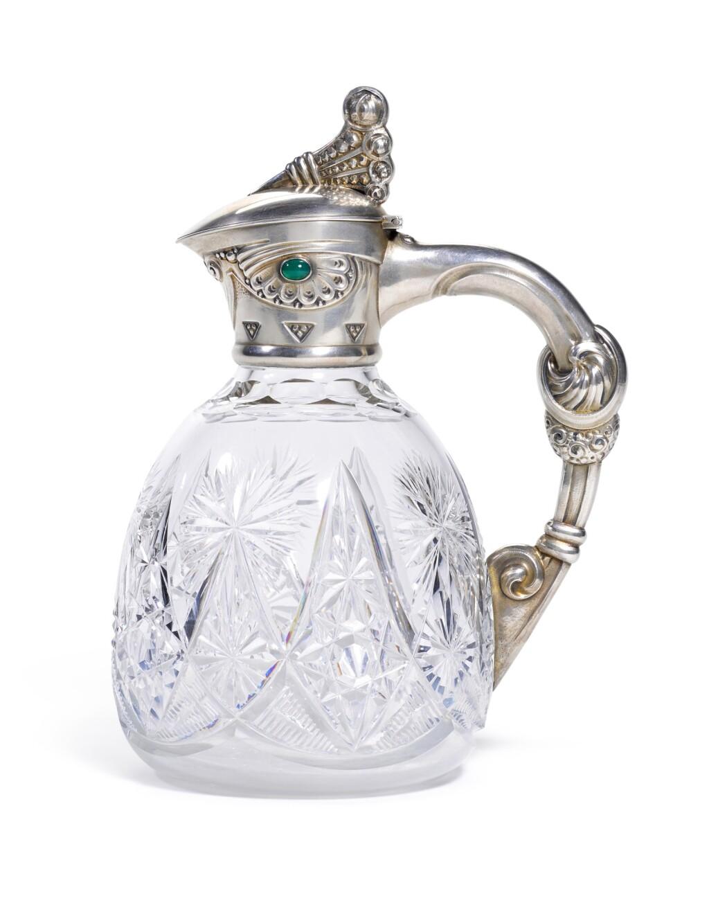 A GEM-SET SILVER-MOUNTED CUT-GLASS DECANTER, OREST KURLIUKOV, MOSCOW, 1908-1917