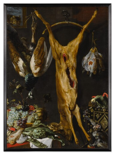 Still life of artichokes, grapes and a melon in a basket, a hung peacock, roebuck and grouse, together with a parrot and a monkey, a cat jumping through a window beyond