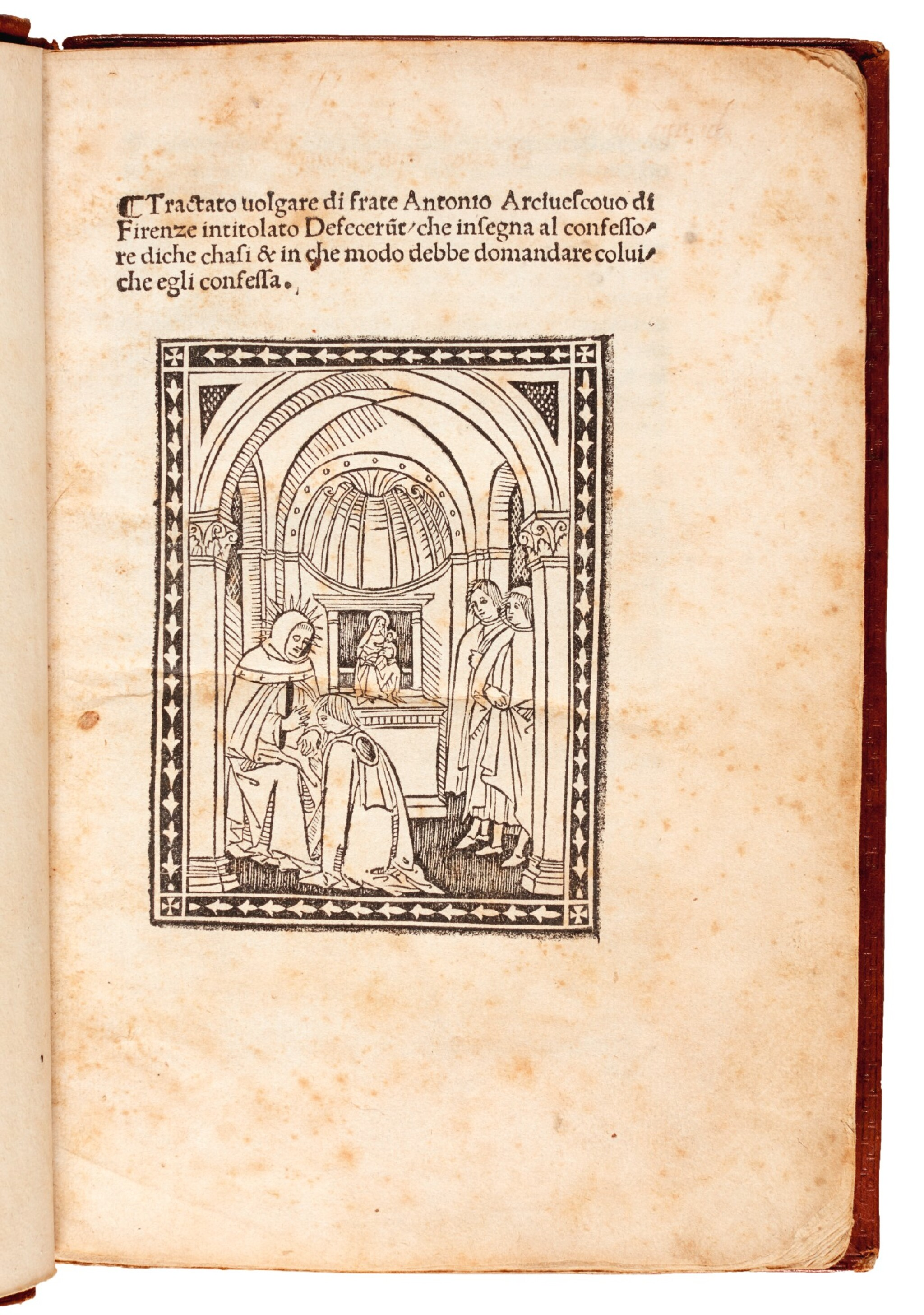 View full screen - View 1 of Lot 143. Antoninus Florentinus, Tractato...defecerunt, Florence, 1496, later diced calf gilt.