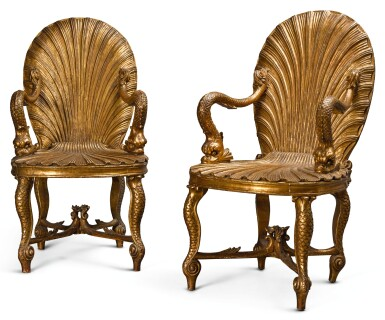 A PAIR OF SILVERED AND CARVED GROTTO ARMCHAIRS, PROBABLY ENGLISH LATE 19TH CENTURY/EARLY 20TH CENTURY