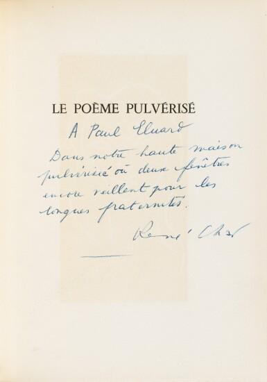 View 3. Thumbnail of Lot 132.  Le Poème pulvérisé, 1947. Ex. avec la lithographie signée. Envoi de Char à Éluard (rel. de P.L. Martin).